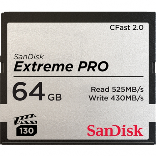 SanDisk 64GB Extreme Pro CFast 2.0 Card VPG130 525MB/s R, 450MB/s W