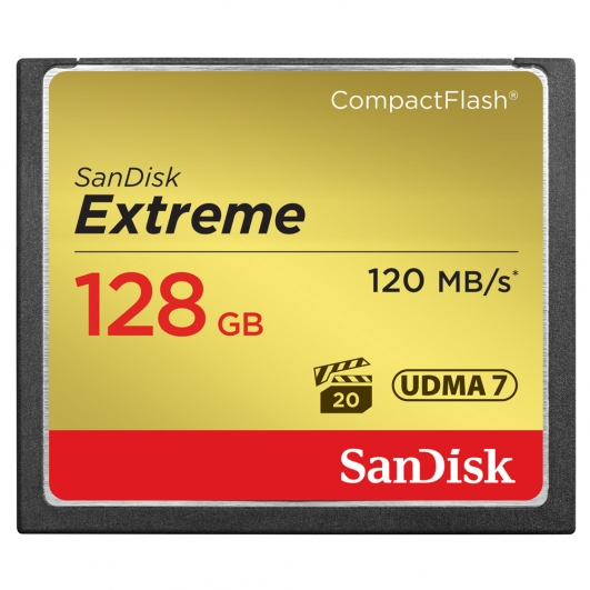 SanDisk 128GB Extreme Compact Flash (CF) Card 120MB/s R, 85MB/s W