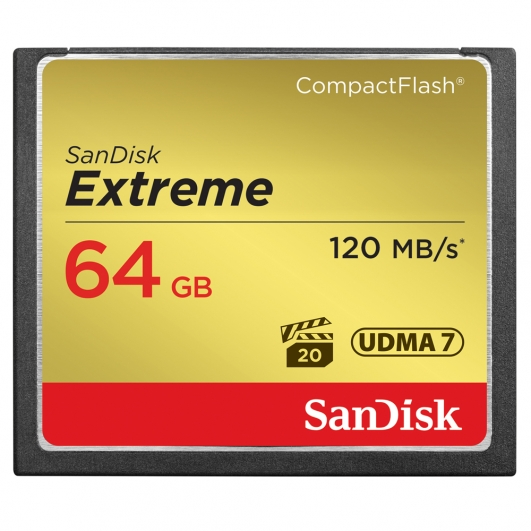 SanDisk 64GB Extreme Compact Flash (CF) Card 120MB/s R, 85MB/s W