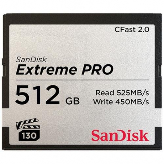 SanDisk 512GB Extreme Pro CFast 2.0 Card VPG130 525MB/s R, 450MB/s W