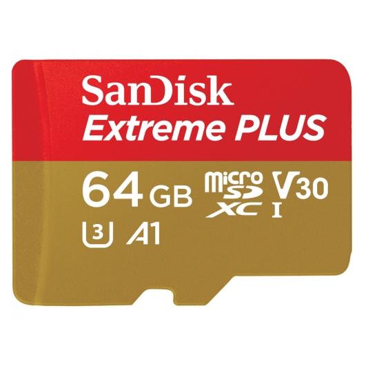 SanDisk 64GB Extreme Plus microSDXC Memory Card U3 100MB/s V-Class 30 A1