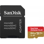 SanDisk 64GB Extreme Plus Micro SD (SDXC) Card U3, V30, A2, 170MB/s R, 90MB/s W