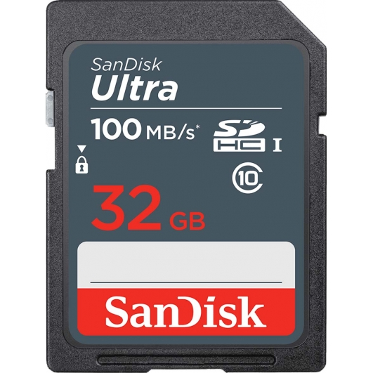 SanDisk 32GB Ultra SDHC (SD) Card 100MB/s R, 10MB/s W - Refurbished/Open Box